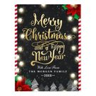 Merry Christmas Happy New Year Gold String Lights Holiday Postcard