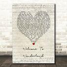 Anson Seabra Welcome To Wonderland Script Heart Song Lyric Wall Art Print