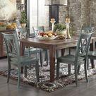 Mestler Dark Brown Rectangular Dining Table w/6 Antique Blue Side Chairs & Server