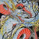 Dragon In Indigo by Clark North Japanese Unframed Fine Art Print