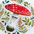 Mushroom: Hand Embroidery Pattern, Needlepainting Tutorial, Instant Download, Paint With Thread, Mushroom Embroidery Pattern, Fly Agaric