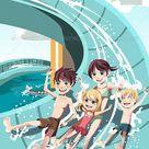 Kids Playing in Water Slides
