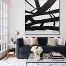 Minimalist Painting Black and White Abstract Art Large Wall Art Contemporary Modern Art Huge Oil Painting Artwork Design by Sky Whitman