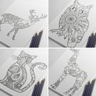 Coloring Book Postcards of Animals and Birds Owl Coloring   Etsy