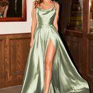 Long Satin A-line Dress by Cinderella Divine BD104 - XS / Sage