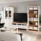 HEMNES TV-Möbel, Kombination - weiß gebeizt/hellbraun Klarglas - IKEA Österreich