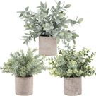 3 Pack Mini Potted Fake Plants Artificial Plastic Eucalyptus Plants for Home Office Desk Room Decoration