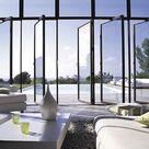 Steel windows.