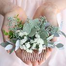 Eukalyptus Haar kam grün saftig saftig Braut Haar Rebe Boho Elfenbein Blume Kamm Braut Haar Stück Wald Blume Haar kam floral Haarnadel