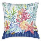 Blue Coastal Coral Indoor Decorative Pillow - 18 x 18
