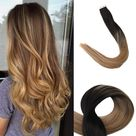 Up to 70% Off Full Shine Tape in Hair Extensions 100% Remy Human Hair 20 Pieces 50 Grams (#1B/8/12)(Only for US Address) - 20\  50g / #1B/8/12