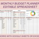 Monthly budget template, Budget planner, Budget spreadsheet, Bill tracker, Financial planner, Excel budget, Personal budget sheet, Editable