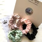 22MM Mulberry Silk Scrunchies NZ Made - Set of 4