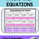 Solving Multi-Step Linear Equations Matching Digital Drag and Drop with Cut and Paste Printable