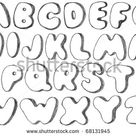 Abc Graffiti Bubble Letters Sketch Coloring Page