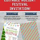 HOLIDAY FESTIVAL FLYER, EDITABLE CHRISTMAS FESTIVAL INVITATION, PRINTABLE PTA CHRISTMAS INVITATION