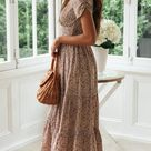 Anniecloth Summer Dresses 1 Floral Dresses Daily Square Neck Casual Short Sleeve Dresses