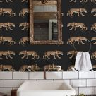 Leopard wallpaper, Cheetah, Animal print, Chic style wall mural, Removable wallpaper #68