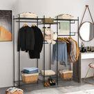 COSTWAY Offener Kleiderschrank mit 5 stufige Ablage, freistehendes Kleiderregal mit 4 Stangen, Garderobenständer verstellbar, Metall Schrank für Haus Ankleidezimmer