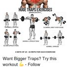 MUSCLE MORPH HUGETRAPS EXERCISES MORPH UMBBELL RUGS DUMBBELL BENT OVER RAISE BARBELL UPRIGHT ROW EZ BAR UPRIGHT ROW BARBELL SHRUGS 4 SETS OF 10 15 REPS FOR EACH EXERCISE Want Bigger Traps? Try This Workout 💪 - Follow for More Tips - Via | Meme on esmemes.com