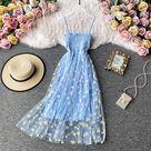 6.59US $ 34% OFF|Slip Dress Long Mesh Floral Dress Women Vintage Elegant Sexy Beach Dresses Woman Party Night 2020 Korean Kawaii Ruffle Backless|Dresses|   - AliExpress
