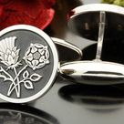 wedding gift for groom or best man Scottish Thistle and Welsh Daffodil Silver Cufflinks laser engraved and handmade in the UK