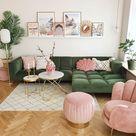 Schitterende roze groene fotowand woonkamer posters amalfi