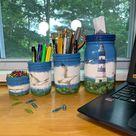 Lighthouse & Seagulls Mason Jar Desk Set, Decoupage Jar, Office Desk Organizer,Desk Office Decor, Office Desk Accessories, Office Supplies