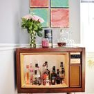 DIY Vintage TV Bar + How To Style A Bar Cart