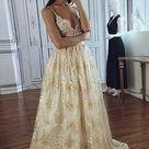 A line Spaghetti Straps Deep V Neck Lace Appliques Wedding Dresses, Bridal Dresses PW935