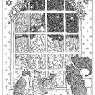 Cat Christmas card xmas coloring notecard night window  pen ink drawing printable digital download pdf Catinka Knoth