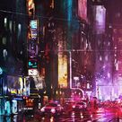 Oil-Painting-New-York-City-in-Night-iPhone-Wallpaper - IPhone Wallpapers