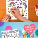 Unicorn Birthday Coloring Page Printable | Unicorn Party Favor | Instant Download