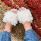 Women Fuzzy Indoor House Slippers,  Birthday Gift for Her, Bridesmaid Gifts, Wedding Shoes   8.5 39 40 / White