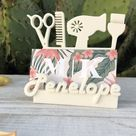Hair Stylist Business Card Holder Personalized Desk 3D Printed White Salon Customized Gift for beautician Cosmetologist Hair Dresser desktop