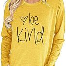 Women's Be Kind Graphic T Shirts Casual Cute Crew Neck Long Sleeve Blessed Basic Tees Tops Blouses - Yellow / X-Large