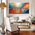 """Streets of Fire - Red Abstract Painting, Red Black Teal, Large Living Room Painting, Textured Modern Palette Knife by Lana Guise - 40""""x20 /100x50 cm / + Silver Frame"""