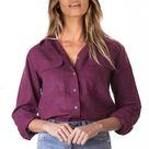 Linen Shirt Women, Linen Blouse, Purple linen shirt, Linen Top, Linen Tops For Women, Linen Tunic Tops, Linen clothing, burgundy button up