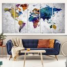 World Map Wall Art, World Map Canvas, World Map Print, World Map Poster, World Map Art, World Map Push Pin, Large Wall Art World Map Canvas - 5 Piece / P.Panel 16x40
