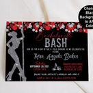Bachelorette Party Invitation, Bachelorette Bash,Bachelorette Weekend, Hen Party, Bachelorette Invite, Pole Party, Dancing, Red, Silver, S43