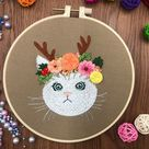 Cat Embroidery Kit For Beginner Modern Embroidery Kit with | Etsy