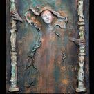 Bindi. AVAILABLE Spiritual Wall Sculpture by Fae Factory Artist Dr Franky Dolan (mother clay relief canvas painting original art){See VIDEO}