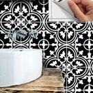 Bodenfliesen Aufkleber Vinyl Aufkleber wasserdicht abnehmbar für Küche Bad M027Black