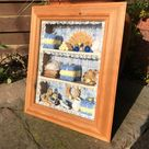 Shadow Box Diorama, Wall Hung, Country Cottage Bathroom Scene, Blue, Yellow and White Towels, Perfumes, Pine Wood Frame, Excellent Condition