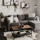 Wohnkultur   Wohnzimmer   Wohnungsdekoration   kleiner Raum   graues Sofa   Modus…