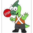 A1 Poster. Illustration of a Parasaurolophus traffic enforcer