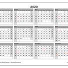 """Calendrier 2020 à imprimer """"Canada"""""""