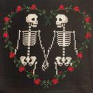 Until We're Dust - Skeleton Couple in Love Gothic Cross Stitch Pattern  - Skeleton Cross Stitch - Digital PDF