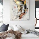 Abstrakte Kunst über der Couch | Kunst im Wohnzimmer | Wohnzimmer dekorieren
