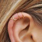Set of 2 Ear Cuffs, Ear Cuff, No Piercing,Earcuff, Double Line Cuff and/or Criss Cross Cuff,Cartilage,Simple Ear Cuff,Fake Cartilage Earring